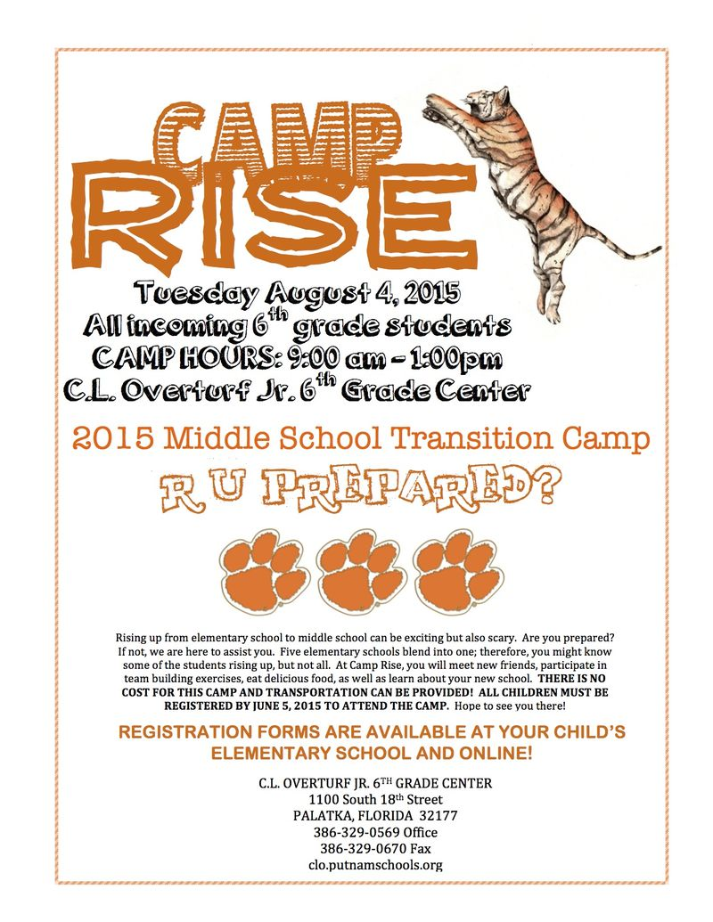 Camp Rise Flyer 2015